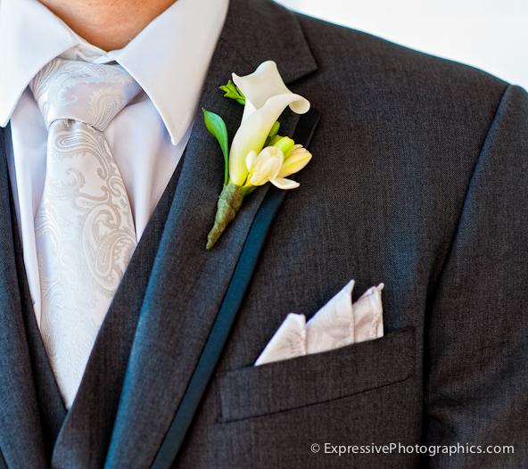 suit, tie, boutonniere