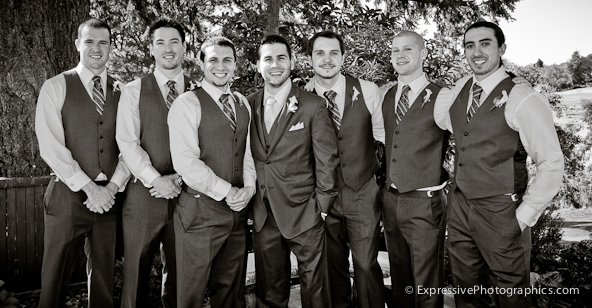 groom with groomsmen photo at hollins house