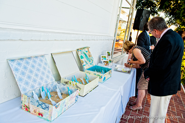 guest table tags in sand boxes