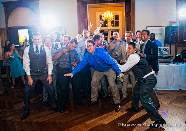 garter toss at hollins house wedding