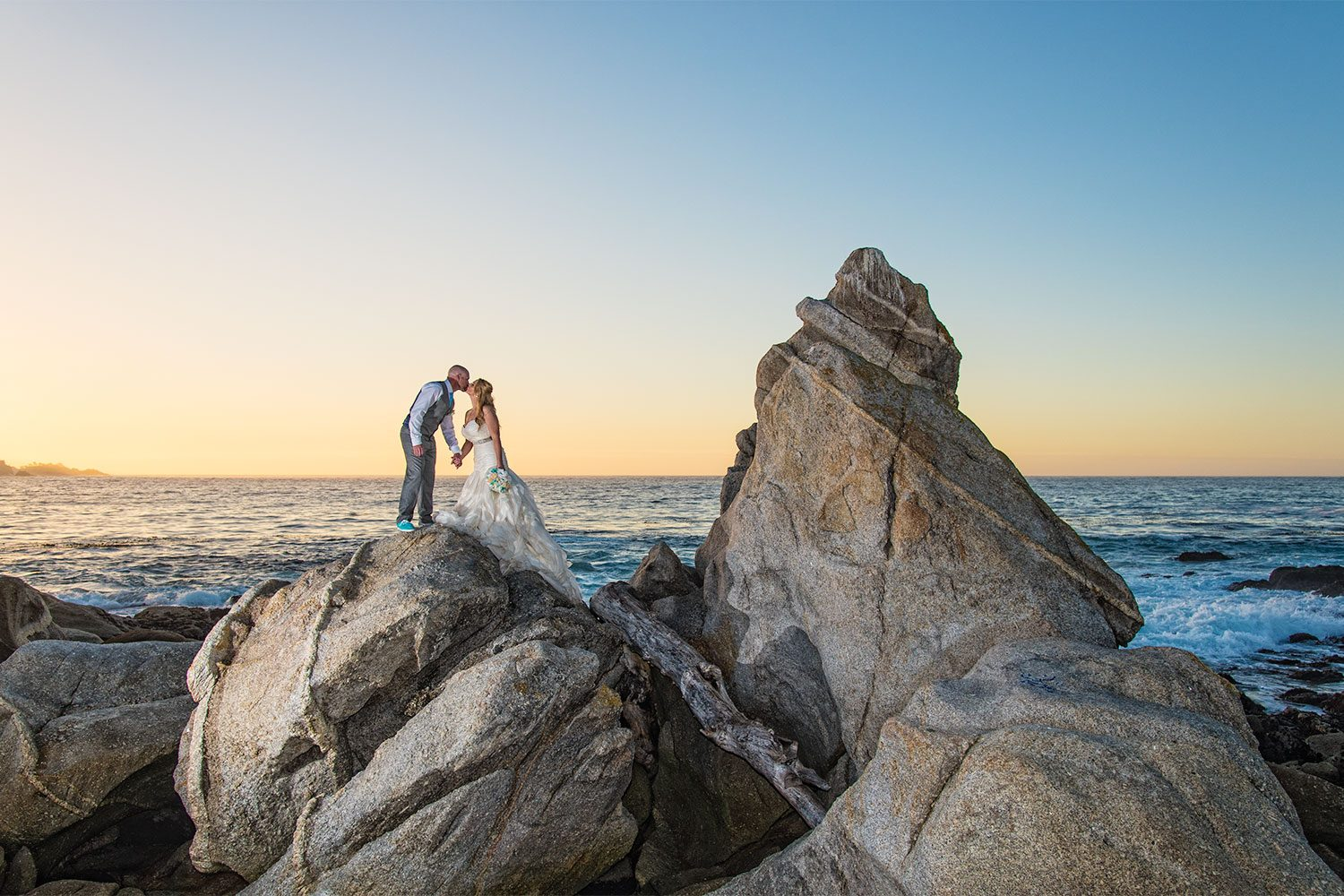 carmel river state beach wedding photo