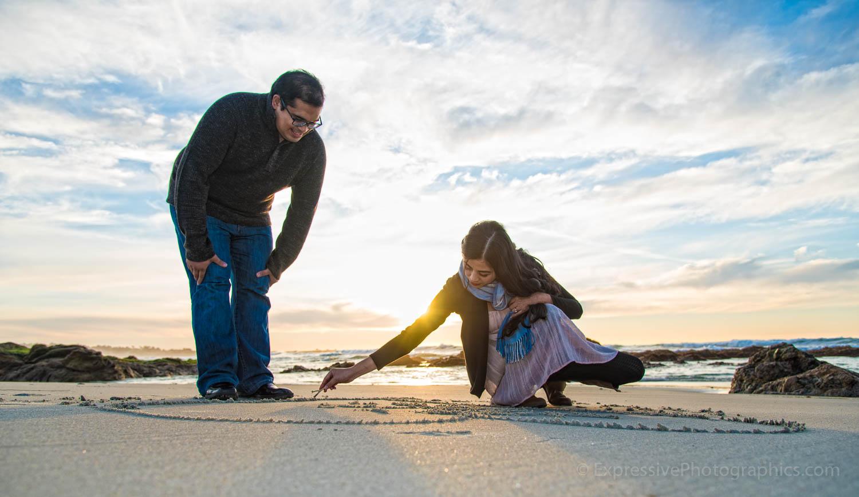 pebble beach engagement photo